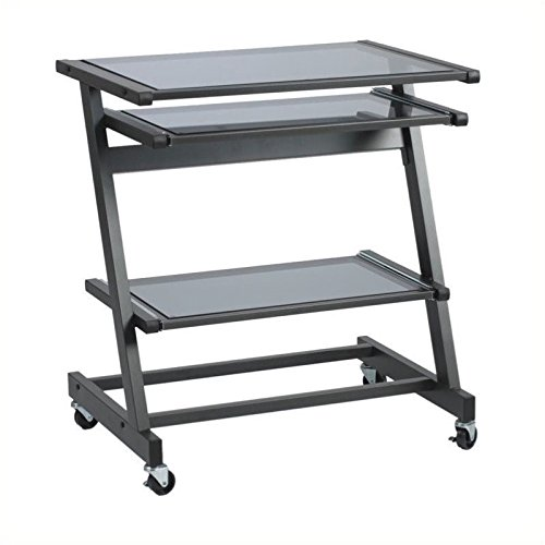 Eurø Style Z Shaped Legs and Base Mobile Desk; Aluminum Coated Stainless Steel Base (Computer Desk Stainless Steel compare prices)
