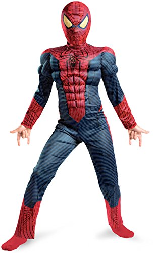 [Spider-Man Movie Muscle Light Up Boys Costume sz Medium 7-8] (Muscle Chest Spiderman Costumes)