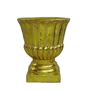 Barcana antique gold urn pot christmas tree for Permanent tree stand