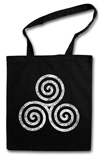 TRISKELION SYMBOL III Hipster Shopping Cotton Bag Borse riutilizzabili per la spesa Nordic Celti Teutoni Celtes Teutons Celtic Celts Germanic Knot Larp Vikings Thor Loki Odin Odhin