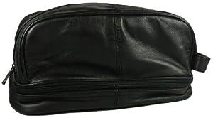 Mens Shaving Bag Lambskin Leather Toiletry Travel Bag