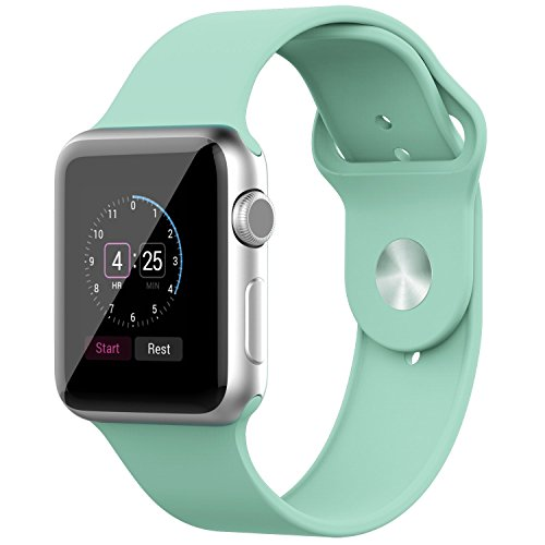 Amanstino Apple Watch Band,soft Silicone Replacement Sport Wristbands Straps for Apple Watch 38mm (Light Blue)