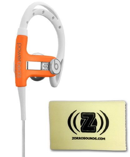 Beats By Dr. Dre Powerbeats Earbuds (Neon Orange) Bundle With Custom Designed Zorro Sounds Cleaning Cloth