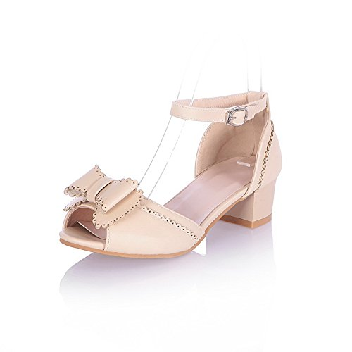 AmoonyFashion Girls Open Peep Toes Mid Heel Chunky Soft Material PU Solid Sandals with Bowknot