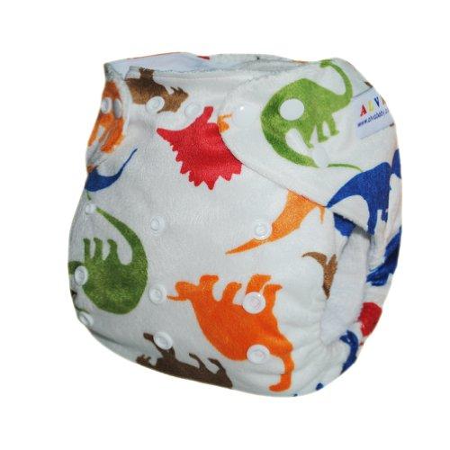 Imagen de Alva One Size lavable reutilizable Minky pañal de tela para 6-33 libras de bebé (Dinosaurio) con dos insertos M12