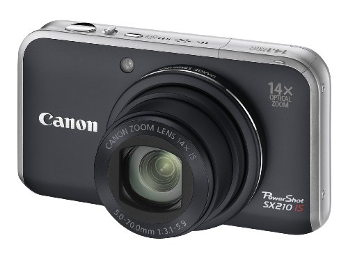 Canon PowerShot SX210 IS Digital Camera - Black (14.1 MP, 14x Optical Zoom) 3.0 Inch PureColor LCD