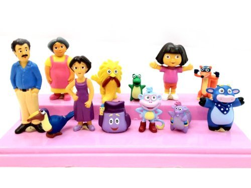 GRHOSE Dora the Explorer Deluxe Figures Toy Playset Cake Topper Figurines 12pcs - 1