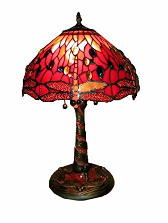 tiffany style red dragonfly lamp w mosaic base table lamps amazon. Black Bedroom Furniture Sets. Home Design Ideas