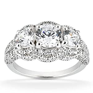 1.75CT Vintage Heirloom Diamond Ring 14K White Gold