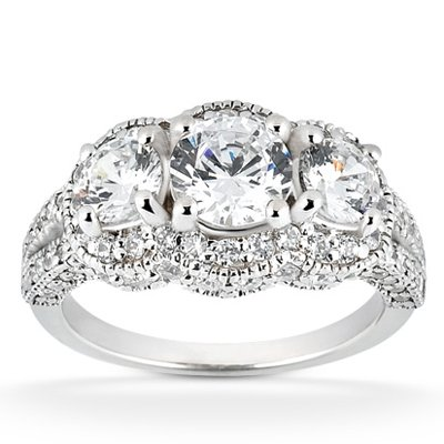 Real 2.25ct Vintage Diamond Engagement Ring Pave