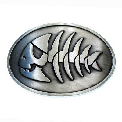 Pirate Fish Belt Buckle - Antique Silver Finish