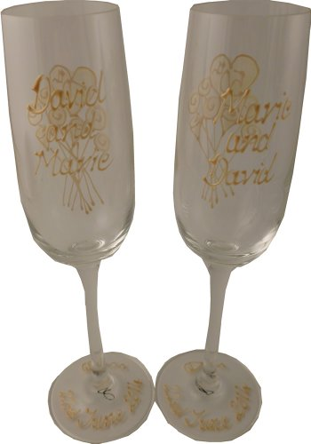 PERSONALISED Anniversary 40th Gift Pair of Flutes(flower) MAXIMUM 25 CHARACTERS PER GLASS