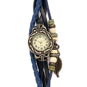 VIKI LYNN - Bracelet Tricole Bleu - Montre populaire - Feuille - Cadran Rond - Très à la mode - Utiles Bijoux - Vente Seule