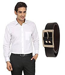 FOCIL White Formal Shirt & Belt for Men