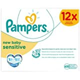 Pampers New Baby Sensitive 50 Wipes Case Of 12 Total 600 Wipes