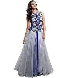 Sanjana Design Women's Western Georgette Dress Material ( KS6311_Free Size_Gray)
