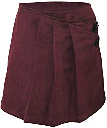 Attuendo Women's Pleated Suede Mini Skirt (Large, Deep Wine)
