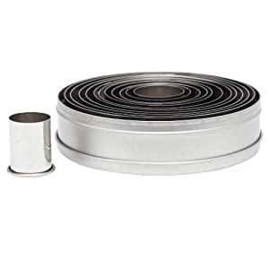 Ateco 5457 12-Piece Stainless Steel Round Cutter Set, Plain