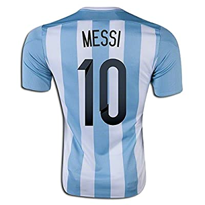 Argentina soccer jersey World Cup 2014, Messi, Higuain, Lavezzi, Aguero official names offered (L, Messi 10)