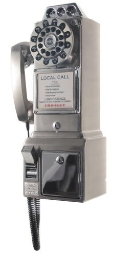 Crosley CR56 1950's Pay Phone - Brushed Chrome
