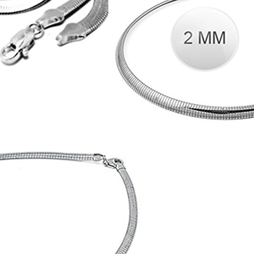 Sterling Silver Italian Solid Flat Omega Chain 2MM Luxurious Nickel Free Necklace with Lobster Claw Clasp Closure (2mm Omega Necklace compare prices)