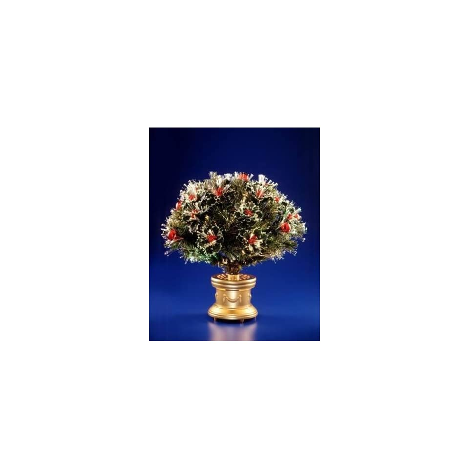 National Tree Company SZM7 116 26 26 Inch Fiber Optic 17 Head Holly Bush with Red Fiber Circled Ornaments and Gold Column Base   Multi Wheel