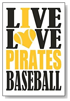 Live Love I Heart Pirates Baseball lined journal - any occasion gift idea for Pittsburgh Pirates fans from WriteDrawDesign.com