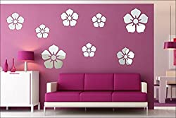 EJA Art Flowers Silver Genuine 2 mm thickness Pure Cast Quality 3D Mirror Finish Acrylic Sticker