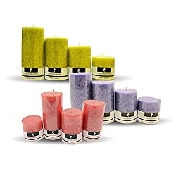 Scented Pillar Candles Set Combo| Each Pack Consists of 4 Different Size Candles | 3 Different Fragrances | Rose(Red), Lavender(Purple), and Lemmongrass(Lemon) | By YesNo.in