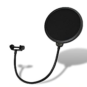 ZRAMO®6-Inch Microphone Pop Filter. Double Mesh Screen High Quality Studio Microphone Mic Wind Screen Pop Filter Swivel Mount 360 Flexible Gooseneck Holder Best for Blue Yeti