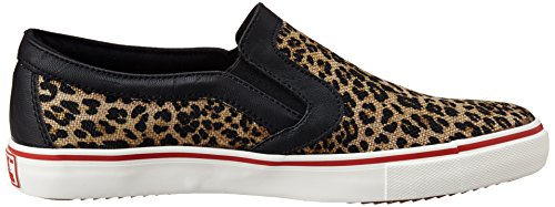 British Knights Women's Jam Brown Leopard,Black and Red SLIP ONS