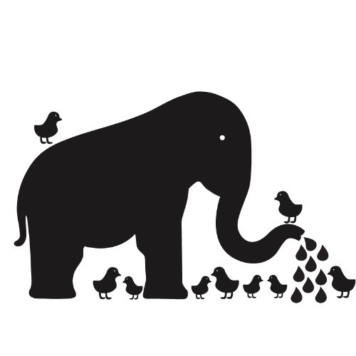 Imagen de WallCandy Artes pizarra Baby Elephant Wall Decal Kit