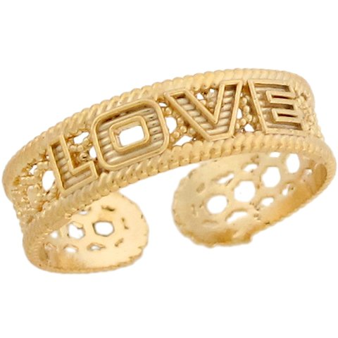 10k Yellow Real Gold Love Designer Toe Band