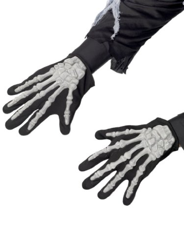Smiffy's Men's Skeleton Gloves Adult In Display Pack, Black/White, One Size - 1