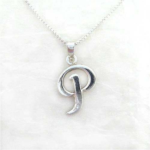 """Sterling Silver Initial Charm Necklace, Letter P, 16"""" front-103593"""