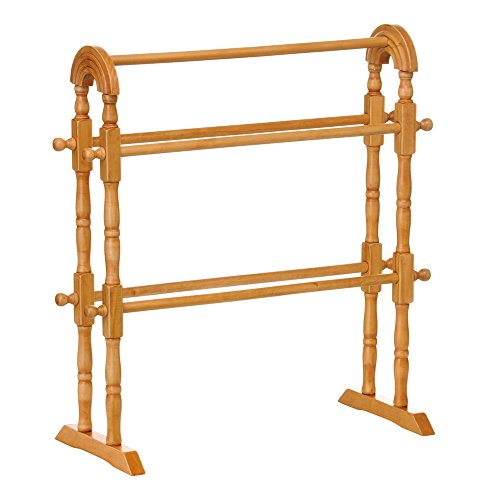Pine Colour Wood. Wooden Bathroom Towel Rack Stand Rail