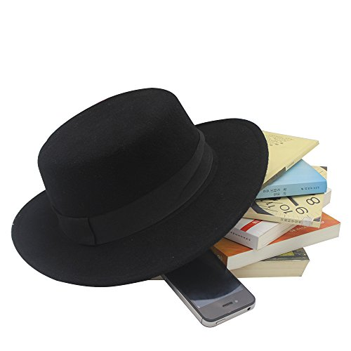 norboe womens brim fedora wool flat top hat church derby