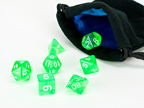 Green Translucent Polyhedral Dice Set | 7 Piece | PRISTINE Edition | FREE Carrying Bag | Hand Checked Quality With | Money Back Guarantee