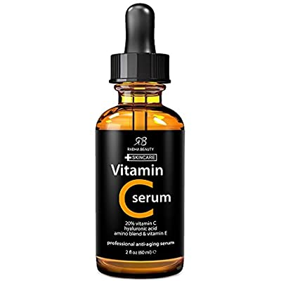 BEST VITAMIN C Serum for Face - 2 fl. oz - 20% organic Vit C + E + Hyaluronic Acid - Professional Facial Skin Care Formula that helps Repair Sun Damage and Fade Age Spots - Radha Beauty