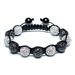 Bling Jewelry Shamballa Inspired Bracelet Unisex Black White Crystal Beads 12mm