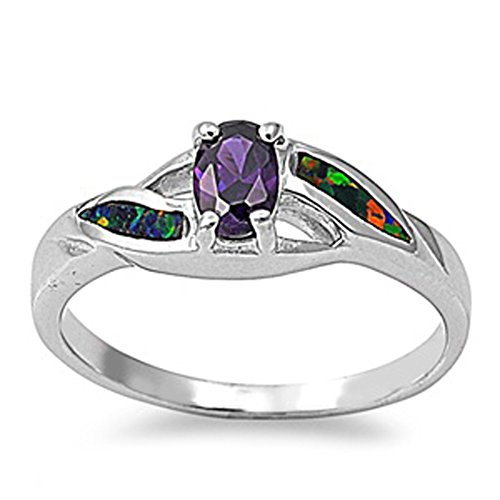 Sterling Silver Woman's Purple CZ Unique Ring Fashion 925 Band 6mm Size 10