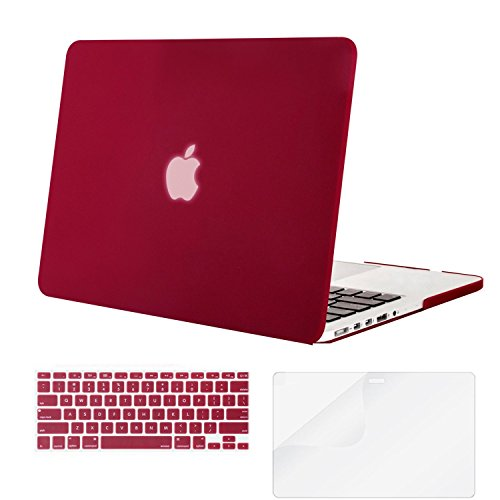 Mosiso Plastic Hard Case with Keyboard Cover with Screen Protector for Macbook Pro 13 Inch with Retina Display No CD-ROM (A1502/A1425), Wine Red