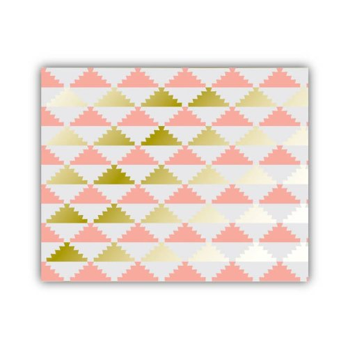 "Lucy Darling Triangle Series Wall Decor, Coral/Gold/White, 8"" x 10"""