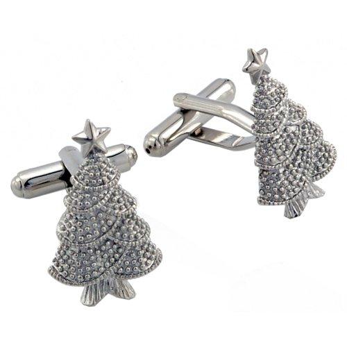 Silver Christmas Tree Cufflinks Holiday Cuff Links