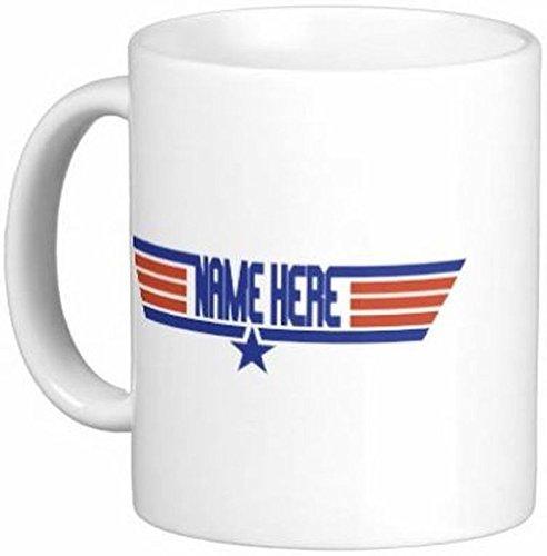 Mensuk 11 oz Personalized Top Gun Pilot Ceramic Coffee Mug by Quick Mugs 2 U
