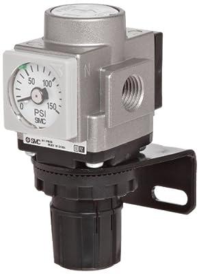 """SMC AR20K-N02-Z-X406 Regulator, Relieving Type, with Backflow Function, 7.25 - 58 psi Set Pressure Range, 28 scfm, No Gauge, 1/4"""" NPT"""