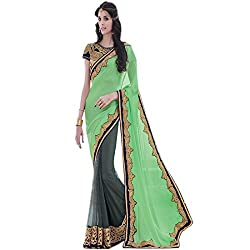 Designer Partywear Saree Fashionable Grey-Green Border Saree Traditional Heavy Moti Work Brown Color Saree Designed by vasu saree