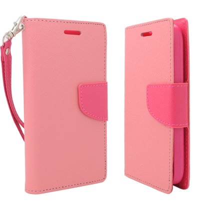 Cell Accessories For Less (Tm) For Kyocera Hydro Icon C6730 / Kyocera Hydro Life C6530N 2 Tone Deluxe Dual-Use Flip Pu Leather , Pink/Hot Pink + Bundle (Stylus & Micro Cleaning Cloth) - By Thetargetbuys