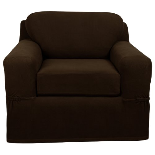 Maytex Pixel Stretch 2-Piece Slipcover Chair, Chocolate front-918174