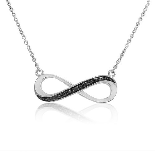 Sterling Silver Black Diamond Accent 18 inch Infinity Necklace